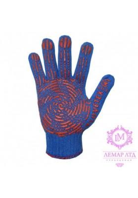 Перчатки трикотажные с ПВХ точкой усиленные синие арт. 764